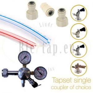Tapset single for beercooler with coupler of choice